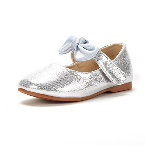 DREAM PAIRS Toddler Belle_02 Silver Girl's Mary Jane Ballerina Flat Shoes Size 4 M US Toddler (Silver Shoes For Flower Girl)