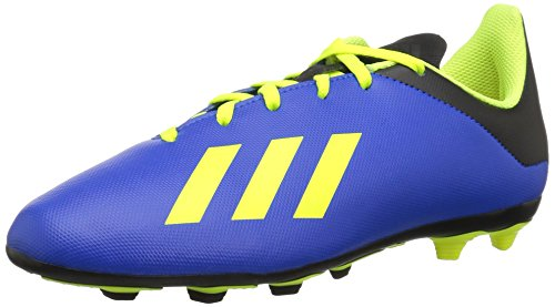 adidas X 18.4 Firm Ground Soccer Shoe Football Blue/Solar Yellow/Black 5 M US Big Kid