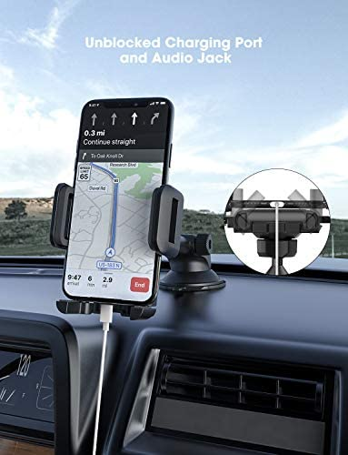 Mpow Car Phone Mount, Washable Strong Sticky Gel Pad with One-Touch Design Dashboard Car Phone Holder Compatible iPhone 12/11 professional/11 professional max/XS/XR/X/8/7, Google Nexus, LG, Huawei and More