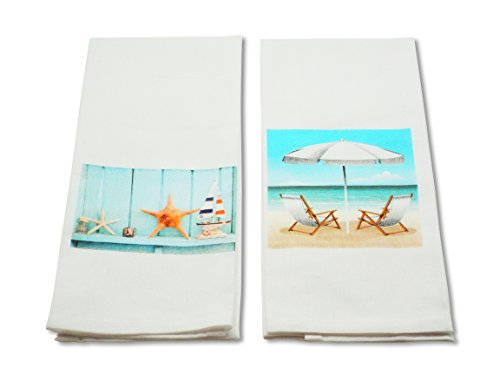 Beach-Themed Kitchen Towel Set - Set of 2- Cotton with Beach and Starfish Printed Designs - 15 x 25 Inches