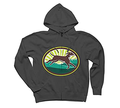 English Pointer Dog Fetching Stick Men's 2X-Large Charcoal Graphic Zip Hoodie