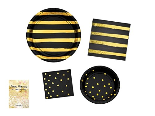 Black & Gold Party Supplies, Dot and Stripe Design, Bachelorette Party, Engagement, Anniversary, Birthday, Bundle of 4 Items: Dinner Plates, Dessert Plates, Lunch Napkins and Beverage Napkins