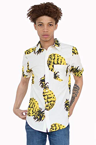Ragstock Men's Casual Button-Up Icon-Printed Woven Shirts (Medium, Pineapple-1860)