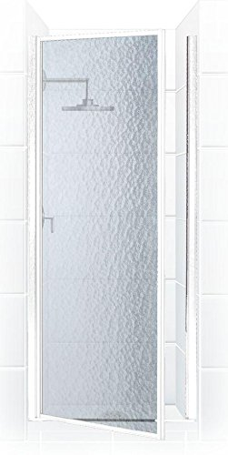 Coastal Shower Doors Legend Series Framed Hinge Shower Door In Platinum with Obscure Glass, 24'' x 64'', Silver