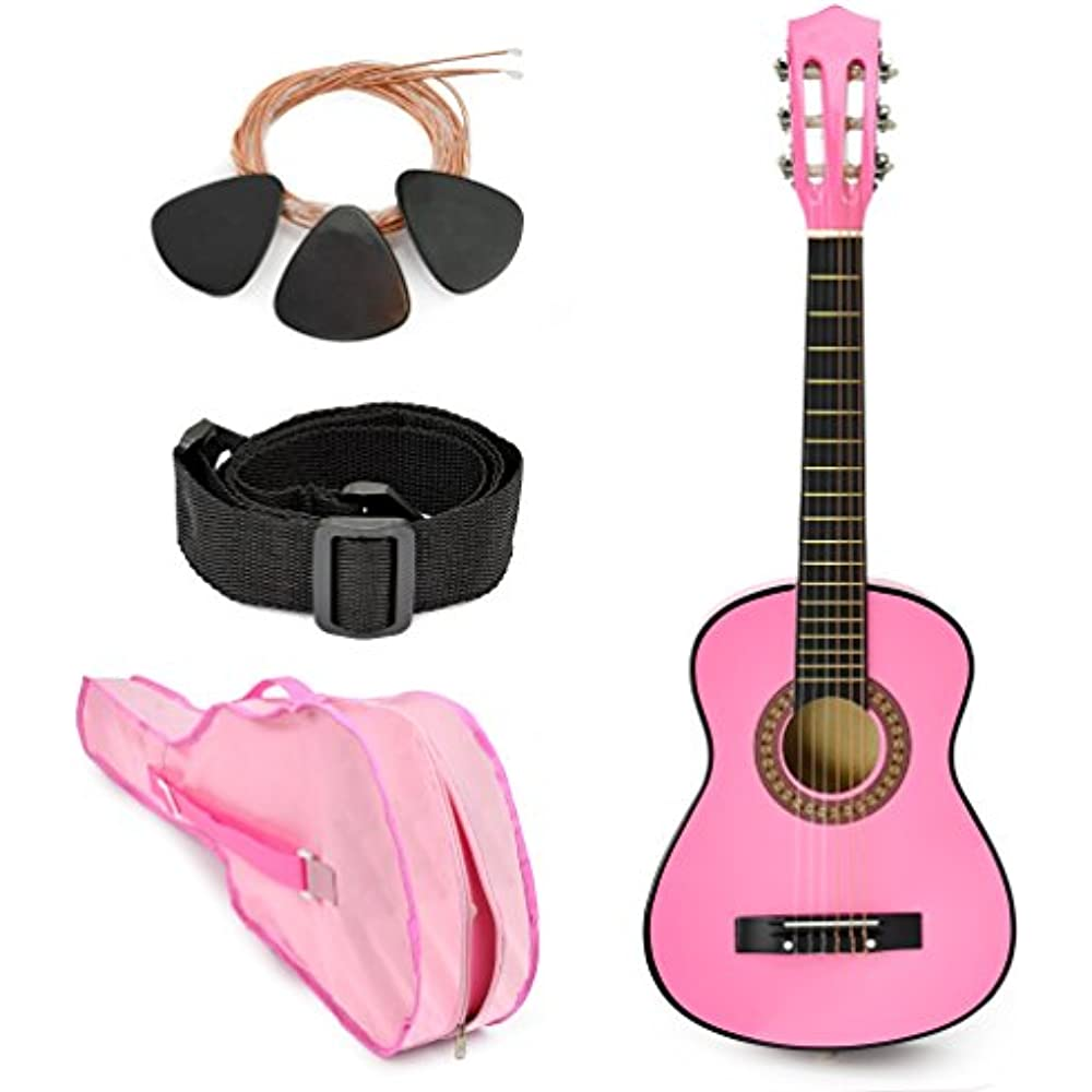 new 30 left handed pink wood guitar with case accessories for kids girls 691198156176 ebay. Black Bedroom Furniture Sets. Home Design Ideas