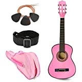"NEW! 30"" Left Handed Pink Wood Guitar with Case and Accessories for Kids / Girls / Beginners"