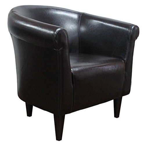 Zipcode Contemporary Club Chair - Faux Leather Barrel Seat is a Perfect Addition to Your Living Room or Bedroom - This Accent Furniture Is Also Made of Wood (Black)