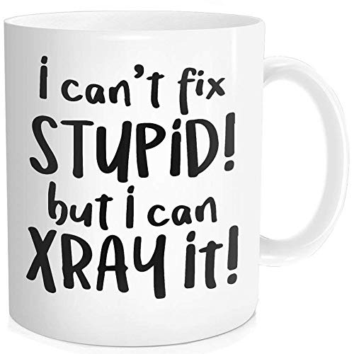 (Waldeal 1 Piece, I Can't Fix Stupid But I Can X Ray It Funny Coffee Mug Birthday Gift for Men Women Radiology Technician, 11-oz Fine Bone Ceramic White)