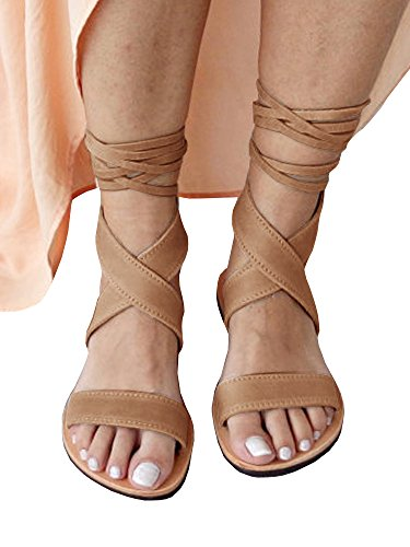 - Huiyuzhi Womens Lace Up Flat Sandals Ankle Strappy Gladiator Sandal Flat Shoes (8 B(M) US, Khaki)