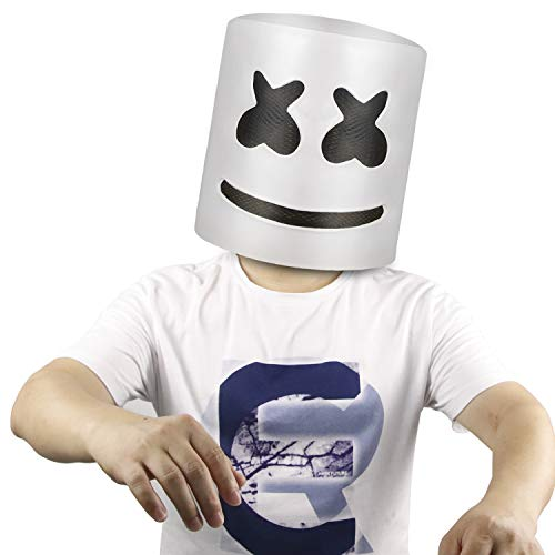 molezu Top 10 DJs Marshmello Helmet Music Festival Marshmallow Head Mask Halloween Costume Party Latex Mask White ()