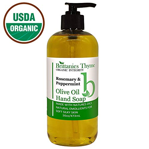Organic Hand Soap, 16 oz - Made Olive Oil And Natural Luxurious Essential Oils. Vegan & Gluten Free (Rosemary & Peppermint)