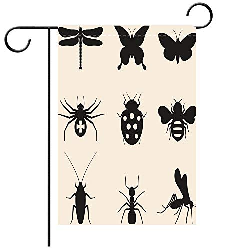 BEICICI Artistically Designed Yard Flags, Double Sided Stylized Insects Black and White Royalty Free Vector icon Set Decorative Deck, Patio, Porch, Balcony Backyard, Garden or - Free Royalty Icons