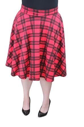 talk clothing plus size tartan skater skirt at