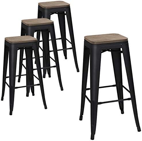 Devoko Metal Bar Stool 30 Indoor Outdoor Stackable Barstools Modern Industrial Square Wood Top Bar Stools Set of 4 Black