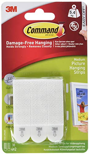 Command White 12 lb Picture Hanging Strips, Decorate Damage-Free, Indoor Use (17201-4PK-ES) ()