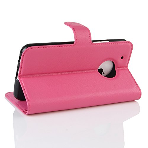 QUENJOY® Hülle Tasche Cover Skin für Moto G5 Plus , PU+TPU Kunstleder Brieftasche Etui Schutzhülle mit Stand Funktion und Karten Halter für Motorola/Lenovo Moto G5 Plus(5,2 Zoll),Rose Rose