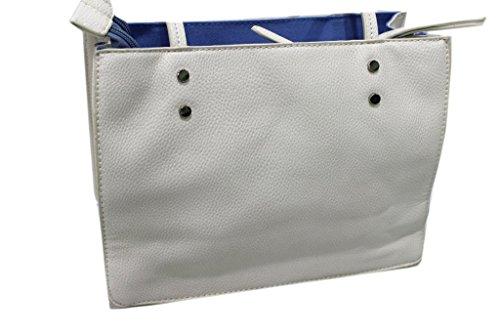 piccola y1372 shopping donna Lookat borchie modello Borsa bianco linea qnXUPZww0