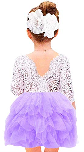 2Bunnies Girl Beaded Peony Lace Back A-Line Tiered Tutu Tulle Flower Girl Dress (Purple 3/4 Sleeve, 6)