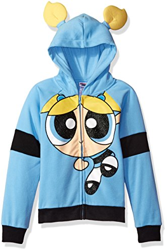 Powerpuff Girls Big Girls' Bubbles Cosplay Hoodie, Blue, XL14/16