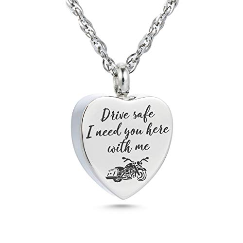 Motorcycle Urn Necklace for Ashes Motorcycle Rider Memorial Necklace Cremation Jewelry Urn Chain