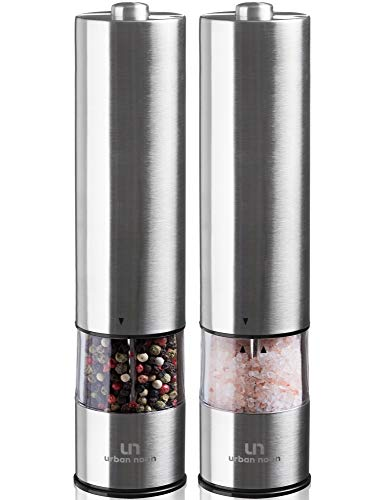 Set Automatic - Electric Salt and Pepper Grinder Set - Battery Operated Stainless Steel Mill with Light (Pack of 2 Mills) - Electronic Adjustable Shakers - Ceramic Grinders - Automatic One Handed Operation