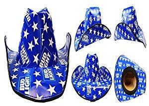 partybyspursgrl Bud Light, Budweiser Cowboy Cardboard Hat (Blue)]()