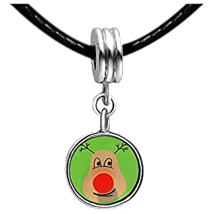 Chicforest Silver Plated Happy Christmas Reindeer Photo Light Rose Crystal October Birthstone Flower dangle Charm Beads Fits Pandora Charms