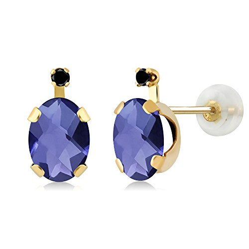 1.31 Ct Oval Checkerboard Blue Iolite Black Diamond 14K Yellow Gold Earrings 14k Yellow Gold Iolite Ring