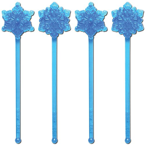 Royer 6 Plastic Snowflake, Winter-Themed Swizzle Sticks, Set of 24 - Made in USA (Light Transparent Blue)