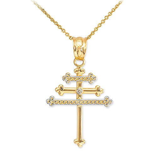 Solid 14K Yellow Gold Diamond-Accented Maronite Cross Pendant Necklace, 22