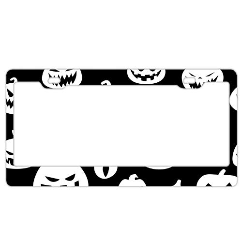 KSLIDS Halloween with Pumpkins Personalized Your Own License Plate Frame Stainless Steel- 12