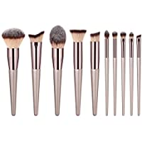 Nrpfell New Women'S Fashion Brushes Champagne Makeup Brushes For Foundation Powder Blush Eyeshadow Concealer Lip Eye Cosmetics Beauty Tools Set