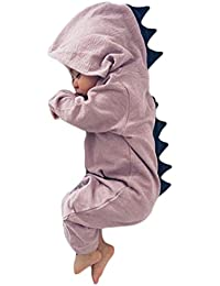Baby Boy Girl Animal Dinosaur Long Sleeve Hooded Romper...