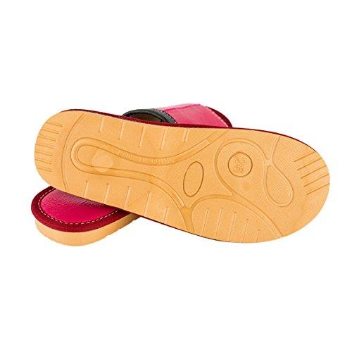 Haisum Tb007-w - Zapatillas de estar por casa de Piel Sintética para mujer rosa roja
