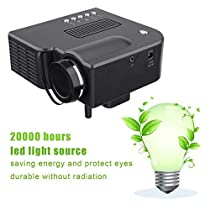 Pudincoco Low Power Mini VGA/USB/SD/AV/HDMI Portable Mini Digital LED Entertainment LCD Projector for Home Cinema Theater(Black)