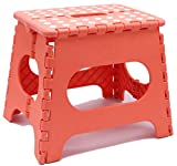 Folding Step Stool - Lightweight 11 Inch Step Stool is Sturdy Enough to Support Adults and Safe Enough for Kids Opens Easy with One Flip. Great for Kitchen, Bathroom, Bedroom, Kids or Adults. (Coral)