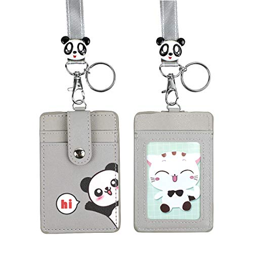 uch Credit Card Case ID Badge Holder Lanyard with Cartoon Shield Keychain for Students Teens Girls Officer,Hi Panda ()