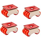HOMEPRODUCTS4U 6-Wheels Roller Moving Castor (Orange, 50 mm) -4 Pieces in 1 Box