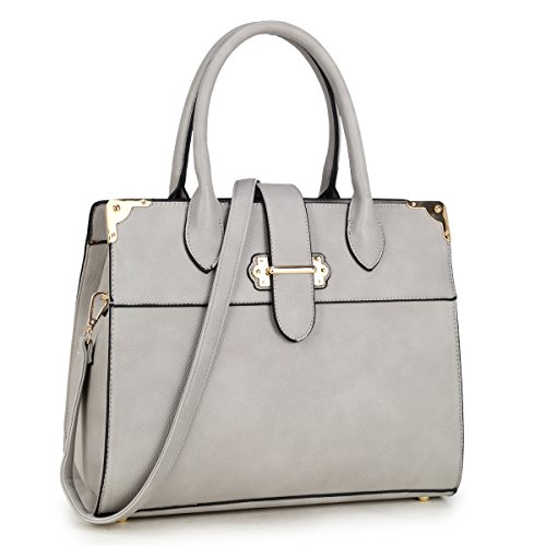 Handle Faux Leather Work Satchel, Shoulder Bag, Handbag, Tablet Bag, iPad Bag (6347- Grey) ()