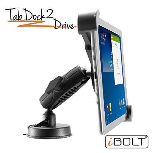 iBOLT Tabdock 2 Drive-Holder/Mount with Suction Cup and AMPs Plate BizMount- for Your Windshield, Dashboard, or Desk - Compatible with All 7