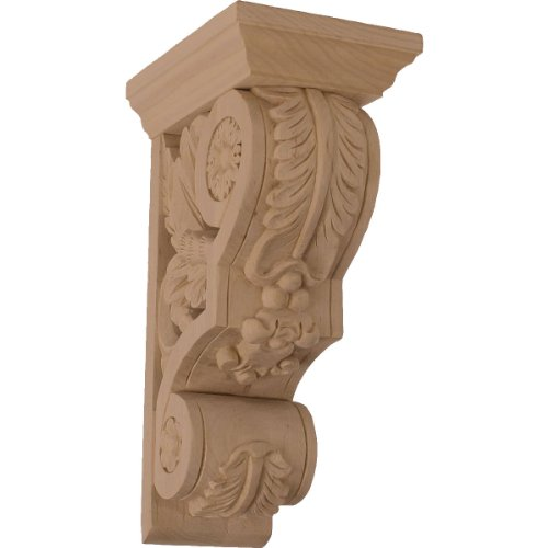 Ekena Millwork COR03X05X09FLCH-CASE-2 3 4 inch W x 5 1/2 inch D x 9 1/2 inch H Small Floral Corbel, Cherry (2-Pack),