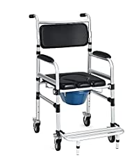 DORTALA Toilet Commode Wheelchair, Multifunctional Rolling Commode Chair w/ 5-Level Adjustable Height & Removable Toilet, Bath Chair w/ Folding Pedals & 4'' Universal Wheels, 220LBS Weight Capacity, Suitable for the Elderly & Disabled