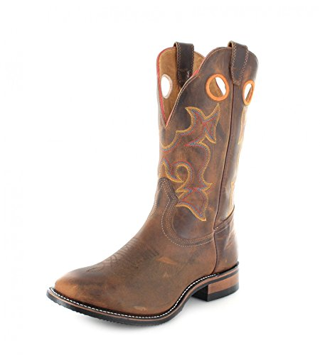Bottes américaines - bottes western super ropers BO-0292-45-EEE (pied fort) - Homme - Marron