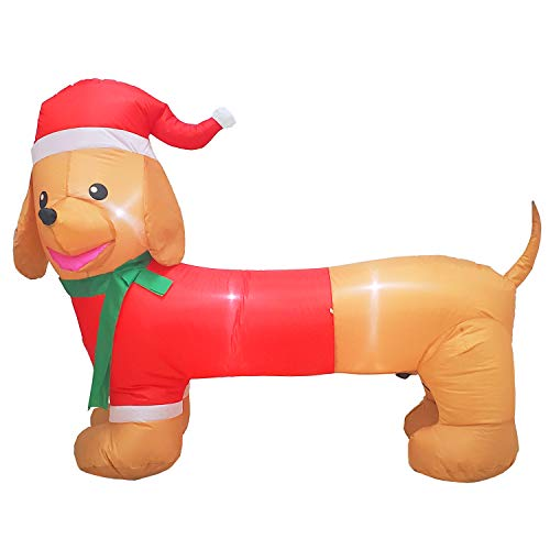 Poptrend 5ft Long Wiener Dog Self-Inflatable with Suit Perfect for Dachshund Blow Up Yard Decoration, Indoor Outdoor Yard Garden Christmas Decoration and Christmas Party Favor Decoration (Light Dog Christmas Up Decoration)