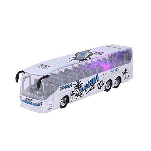 Amazingdeal 1:50 Scale Pull Back Music Bus Diecast Model LED Light Children Toy(White)