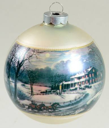 Currier & Ives American Winter Scenes, Evening Ornament- 1973 Authentic Reproduction