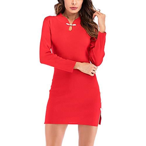 BOOMJIU Women Sexy Retro Cheongsam Knit Mini Dress Stand Collar Split Sheath Dress ()