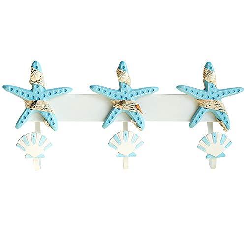 (Ozzptuu Beach Themed Keys Holder/Coat Hooks Hanger-Rustic Wall Decoration with Starfish,Seashell for Bedroom,Kitchen,Bathroom (Light Blue))