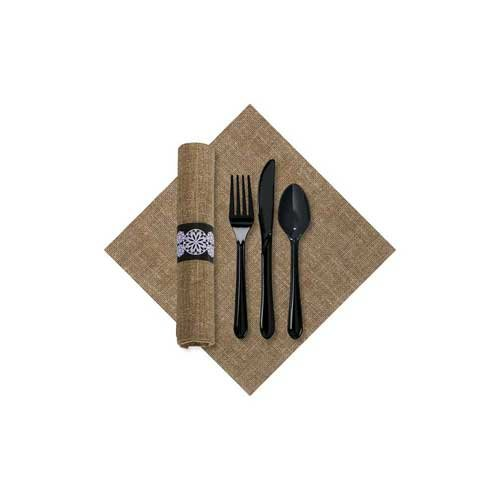 (Hoffmaster CaterWrap Pre Rolled FashnPoint 100 Percent Recycled Natural Burlap Print Dinner Napkin and Black Cutlery Kit - 100 per case.)