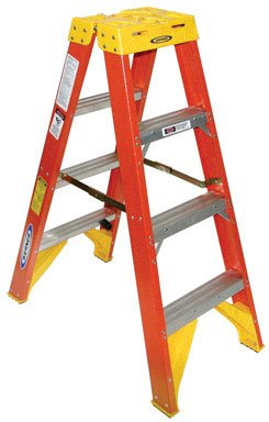 Ladder Fiber - Werner (T6204) Twin Step Ladder, Fiberglass